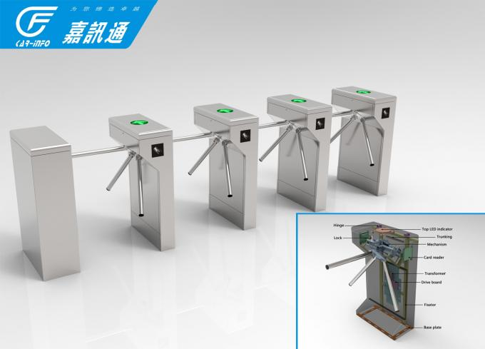 Single Gym Tripod Coin Operated Turnstile 525 - 560mm Passageway 1200 * 280 * 980mm