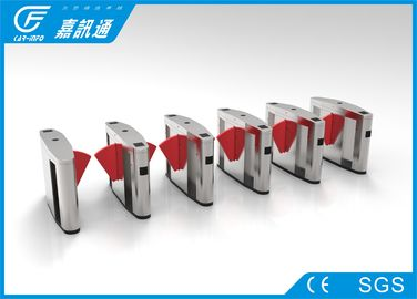 China Waist high flap barrier gate with red retractable winds for ticket station supplier