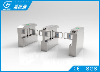 China 304 stainless steel swing barrier gate with top led light for access control system supplier