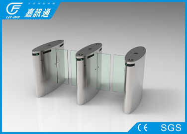 China Automatic pedestrian waist high 304 stainless steel Sliding Flap  turnstile with RFID card/fingerprint reader supplier