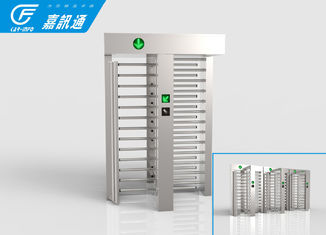 China Double Door Full Height Turnstile Brcush DC Motor Bi - Direction Adjustable supplier