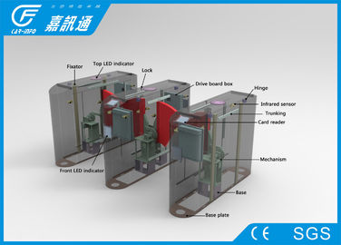 China Business Building Pedestrian Barrier Gate , Retractable Flap Barrier 100W / 24V factory